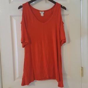 Red-Orange Cold Shoulder Blouse